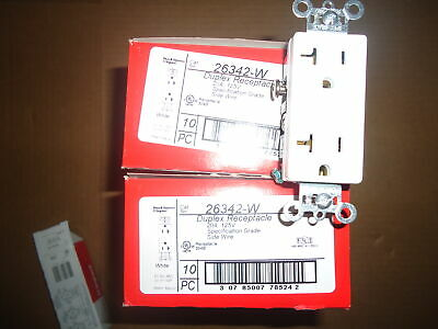 20 Pack Legrand 26342W 20-Amp Decorator Duplex Receptacle Side Wire White