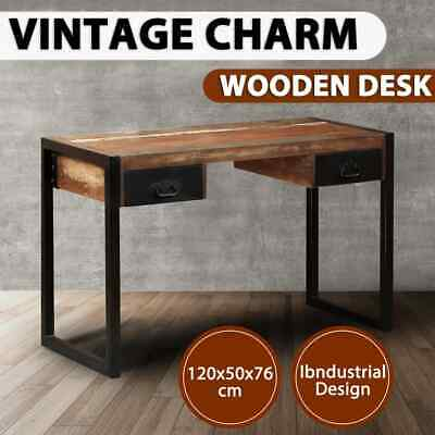 vidaXL Desk with 2 Drawers Solid Reclaimed Wood Steel Writing Console Table