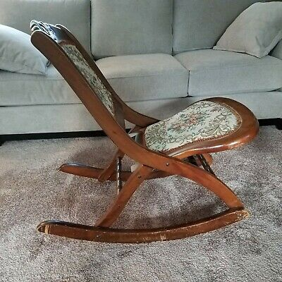 Antique Vintage Rocking Chair Childs Floral Tapestry Folding Solid Wood