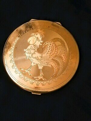 Vintage Wadsworth Large Golden Mirror Compact with Rooster/Cock Engraving!
