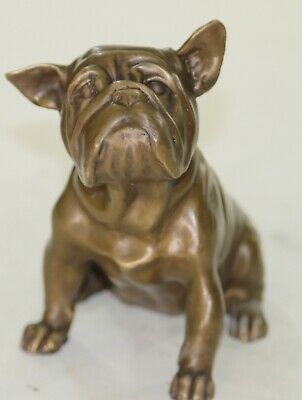 100% Solid Bronze Museum Quality English Bulldog Animal Per Sculpture Art Figure