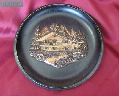 1930s ANTIQUE GERMAN BLACK FOREST STYLE BAKELITE WALL PLATE – FOREST VILLA
