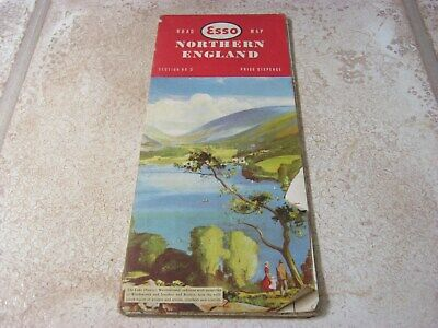 Vintage Esso Road Map,Section No 5, Northern England