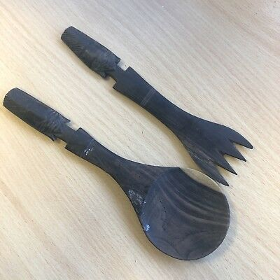 Antique or vintage African Dark Wood Carved Salad Server Cutlery Fork and Spoon