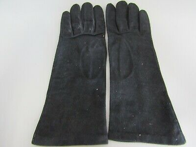 Vintage French Stylish Black Suede Ladies Gloves - Size 6.75