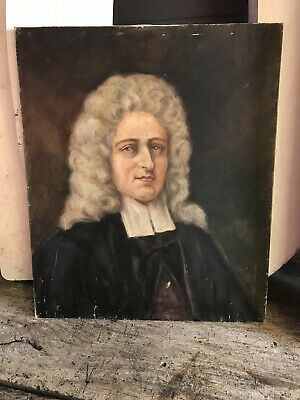 Antique Vintage Oil Painting Portrait 18th Century Gentleman Wig Periwig Peruke
