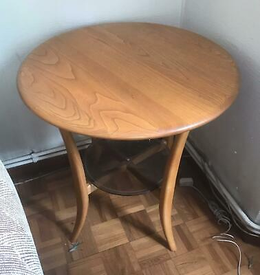 Rare Ercol Solid Light Elm Windsor Side Lamp Table Mint Condition