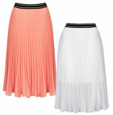 28e1f33b9 Ex Topshop Sunray Pleat Floaty Summer Skirt in Peach or White Was £38 Size 4