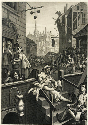 greetings card Gin Lane by William Hogarth printed on 230gsm photo paper