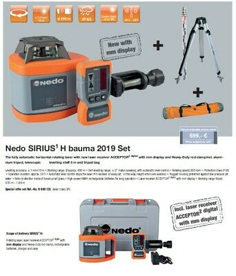 Nedo Sirius1H Rotating Laser Level With Tripod, Staff, bag and digital receiver