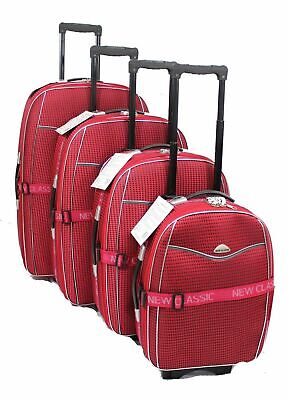 Set Of 4 Lightweight Suitcase 2 Wheel Trolley Case Travel Cabin Hand Luggage Uk