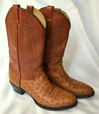 Vintage Old West Pointed Toe Ostrich and Leather Cowboy Boots Size 9.5 SE010020