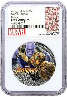 2018 Fiji Silver $2 - Marvel Characters - Thanos - PF70 ANTIQUED - NGC Coin