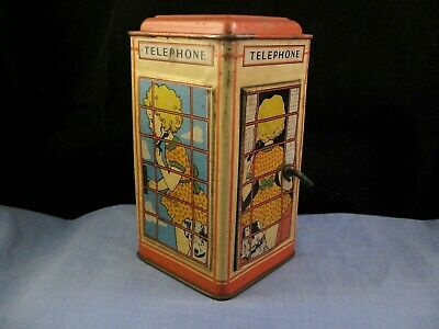 VINTAGE ENAMEL TINPLATE Chad Valley Red Telephone Phone Box Moneybox Toy  Safe