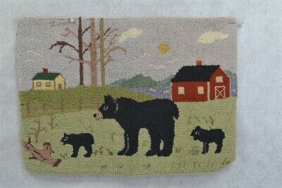 hooked mat rug barn house bears 10.5 x 14.5 wool original Grenfell style vg