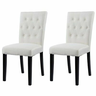 Set of 2 Button-Tufted Fabric Dining Chairs Armless Upholstered Chair Beige