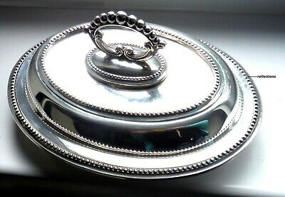 GLEAMING SILVER PLATED SMALL 3PC ENTREE/PEA DISH-BEADED TRIM-c1930s ^