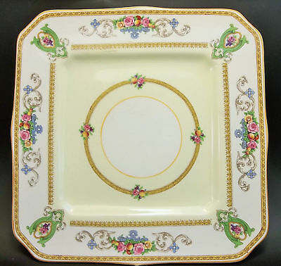 Myott Staffordshire England Square Porcelain Plate Yellow Pink Roses