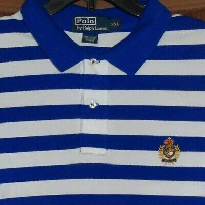 d4564850 POLO RALPH LAUREN White PERFORMANCE PIQUE Gold Crest GOLF SHIRT XXL 2XL 2X  New