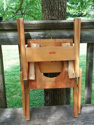 Vintage wood child's folding potty chair baby plastic bowl made by oak hill