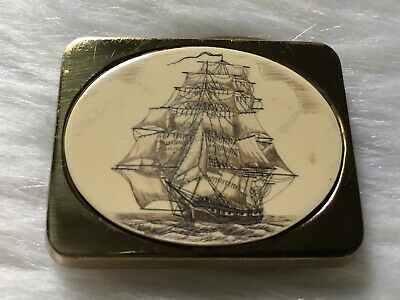 Vintage BTS Solid Brass Scrimshaw SAILING SHIP Belt Buckle 1983
