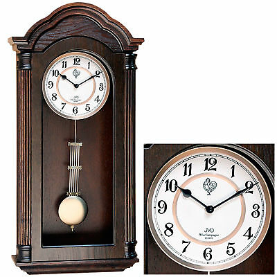 Jvd N9353.1 Wall Clock Quartz with Pendulum Wood Walnut Colours Melody