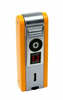 NEW Perdomo Lotus 12 Year Vintage Triple Torch Table Cigar Lighter Orange