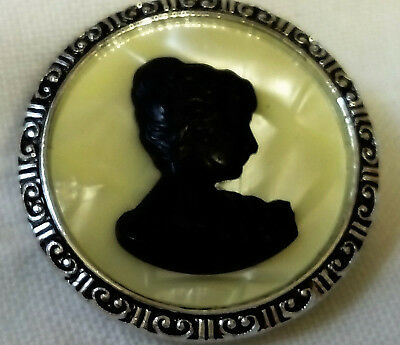 Vintage Shawl Or Scarf Clip / Brooch with a Black Cameo On Mother Of Pearl