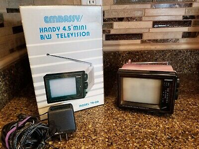 "Vintage Portable Mini Television 4.5"" Embassy Tr-08 W/ Box Pink"