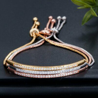 Adjustable CZ Gold Plated Bracelet Bangle Women Bar Slider Drawstring Jewelry