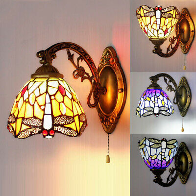 Dragonfly Stained Glass Bathroom Wall Sconce Tiffany Mission Wall Light Fixture