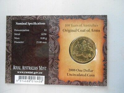 """2008  Coat of Arms UNC $1 Dollar coin """" C Mint Mark Canberra """""""