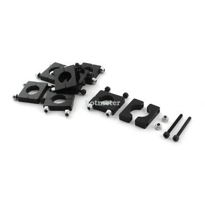 H● 8 Pcs 12mm Dia Black Aluminum Clamp Clip for Carbon Fiber Tube RC Multirotor.