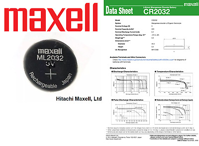 Maxell 3V ML2032 Lithium Rechargeable CMOS Battery ML 2032(Loose) AND Charger
