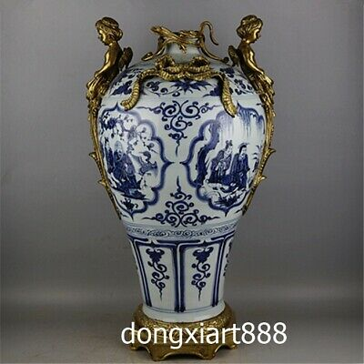 Chinese Blue White Porcelain inlay bronze god of love Cupid Vase Pot Jar Bottle