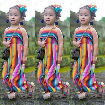 Infant Baby Kids Girls Summer Rainbow Backless Romper Jumpsuits Clothes Sunsuit
