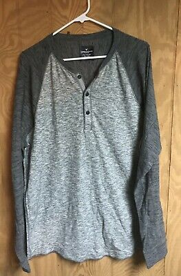 da601b57 American Eagle Outfitters - Men's Long Sleeve Henley Shirt - Xxl - Gray -  Aeo Ae