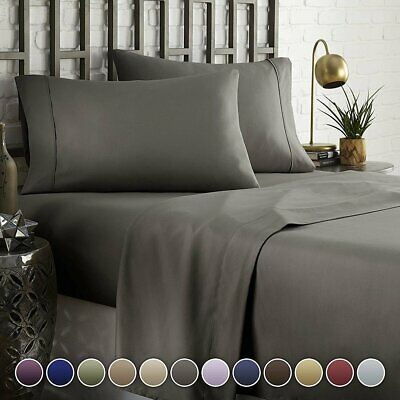 4 Pieces 1800TC Fine Brushed Microfiber Sheet Set Bedding Queen/King/Double