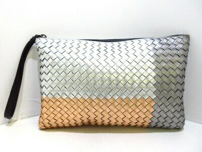 3888e0cc8b926 BOTTEGA VENETA INTRECCIATO Woven Leather Metallic Silver Foldover ...
