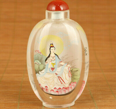 Rare Antiques old glass hand painted Kwan-yin statue snuff bottle delicate gift