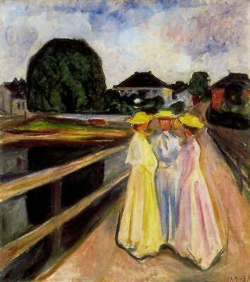 Edvard Munch Three Girls On Pier Abstract Painting 8x10 Real Canvas Art Print
