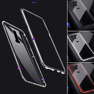 For One Plus 6 6T 5T 360° Magnetic Adsorption Metal Case Tempered Glass Cover