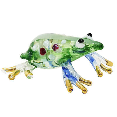 Frog Green Fancy Color Hand Blown Blowing Glass Art Animal Cute Collectibles