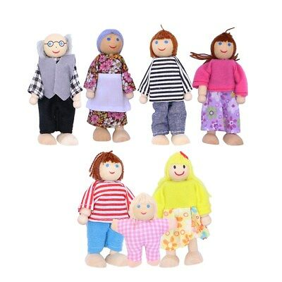 Wooden Furniture Dolls House Family Miniature 7 People Doll Kids Baby Child Toys