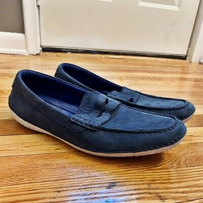 2f9416a663 Cole Haan Motogrand Penny Driving Shoes Mens Size 10.5 Blue Suede Loafers