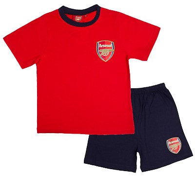 Boys Official Arsenal Short Pyjamas 100% Cotton Football Shortie PJs Kids Size
