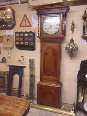 large original antique grandfather clock tall original period painted face clock