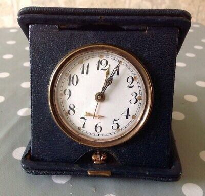 Antique Swiss 8 Day Folding Travel Alarm Clock Winds And Ticks