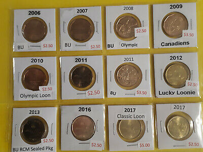 Canada Dollar Collection of 12 Uncirculated Loonies NO TAX & ON SALE