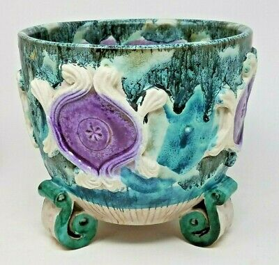 MCM Pottery Footed Flower Pot Planter Italy Green Purple Blue Drip Glaze Raymor?